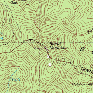 topographic map of Blood Mountain in Georgia